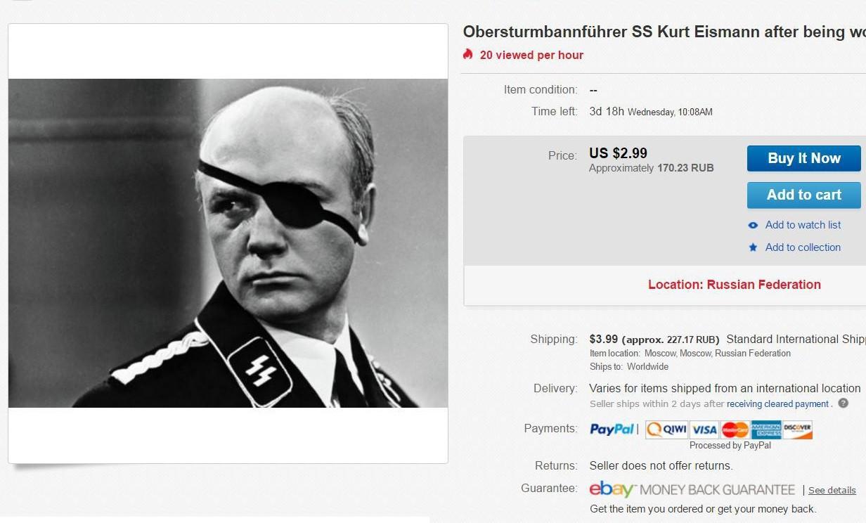 Штирлиц— $ 2.99, Айсман— 170.23RUВ. Фото актеров покупают как нацистские реликвии