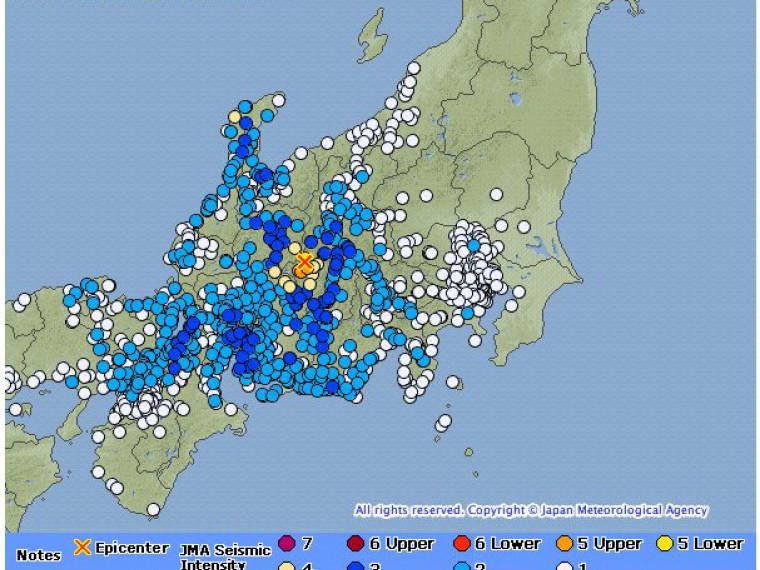 16 повторных толчков произошло после землетрясения вЯпонии
