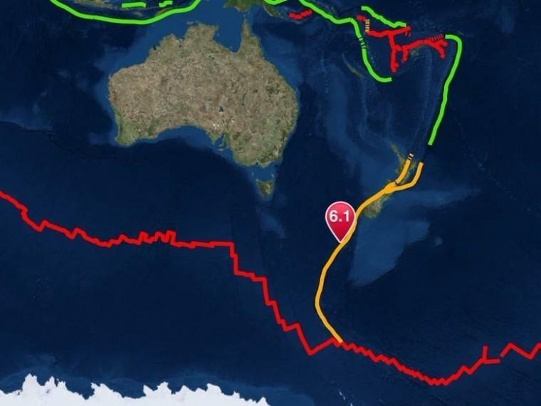 ВНовой Зеландии зафиксировано землетрясениемагнитудой 6,1