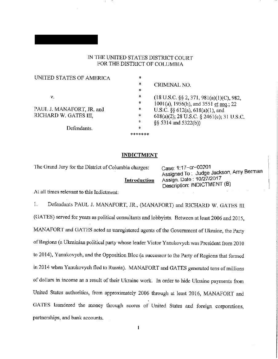 Отмыл $75 млн. Появился полный текст предъявленных Манафорту обвинений