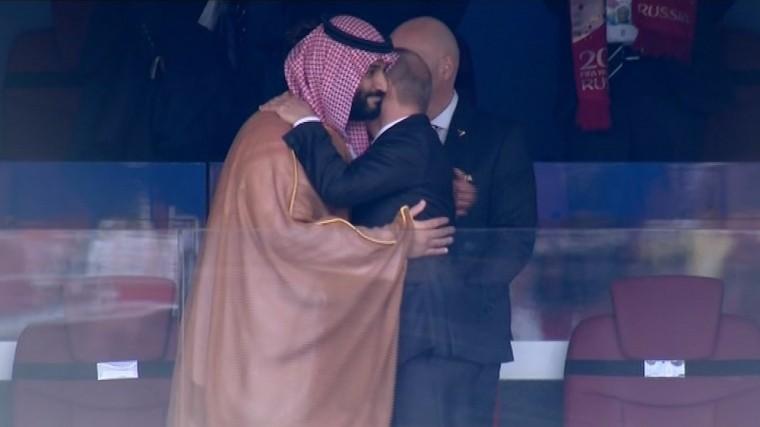 Путин обнялся ссаудовским принцем после победы российской сборной