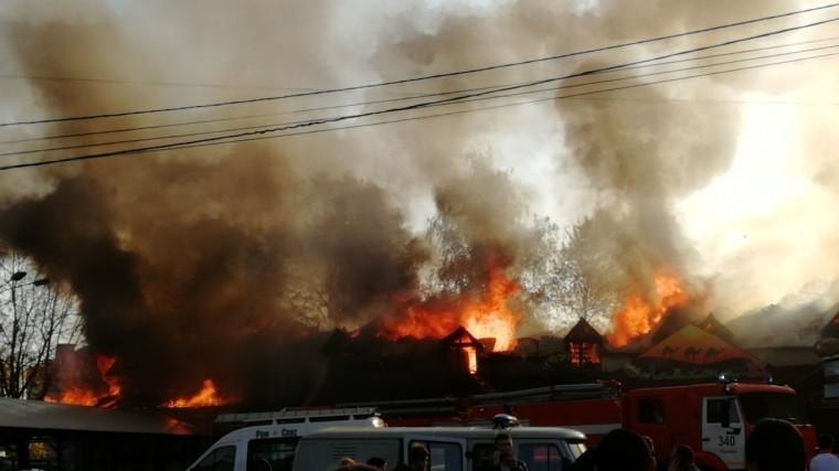 кафе полыхает московской области огненное видео