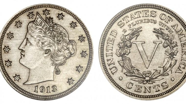 Пятицентовик 1913 года продан на аукционе в Филадельфии за $4,56 млн